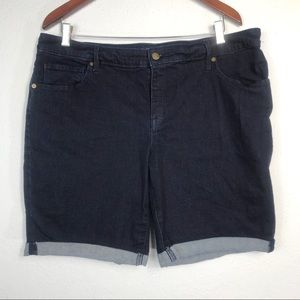 Ava Viv Plus Size Dark Wash Roll Shorts